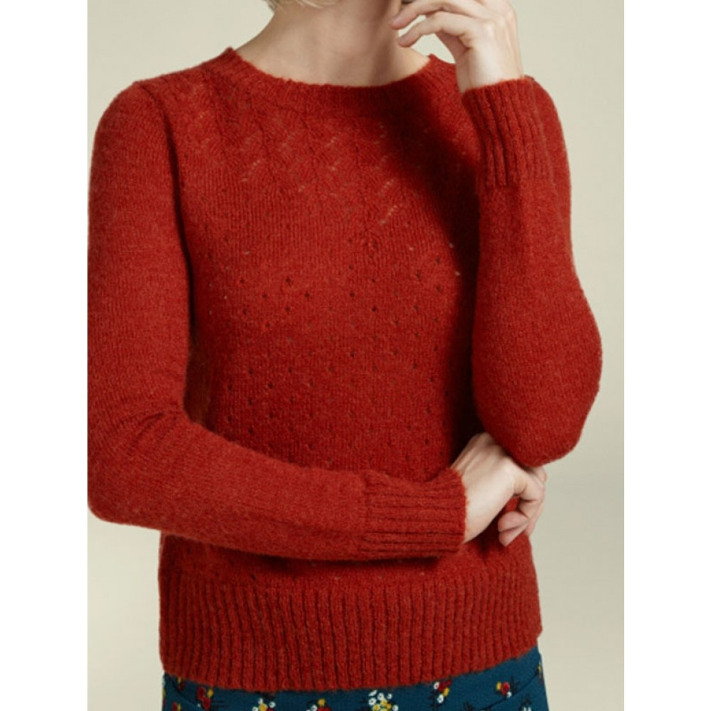 King Louie strikbluse - Yoke Knit Top Bargello, Clay Red