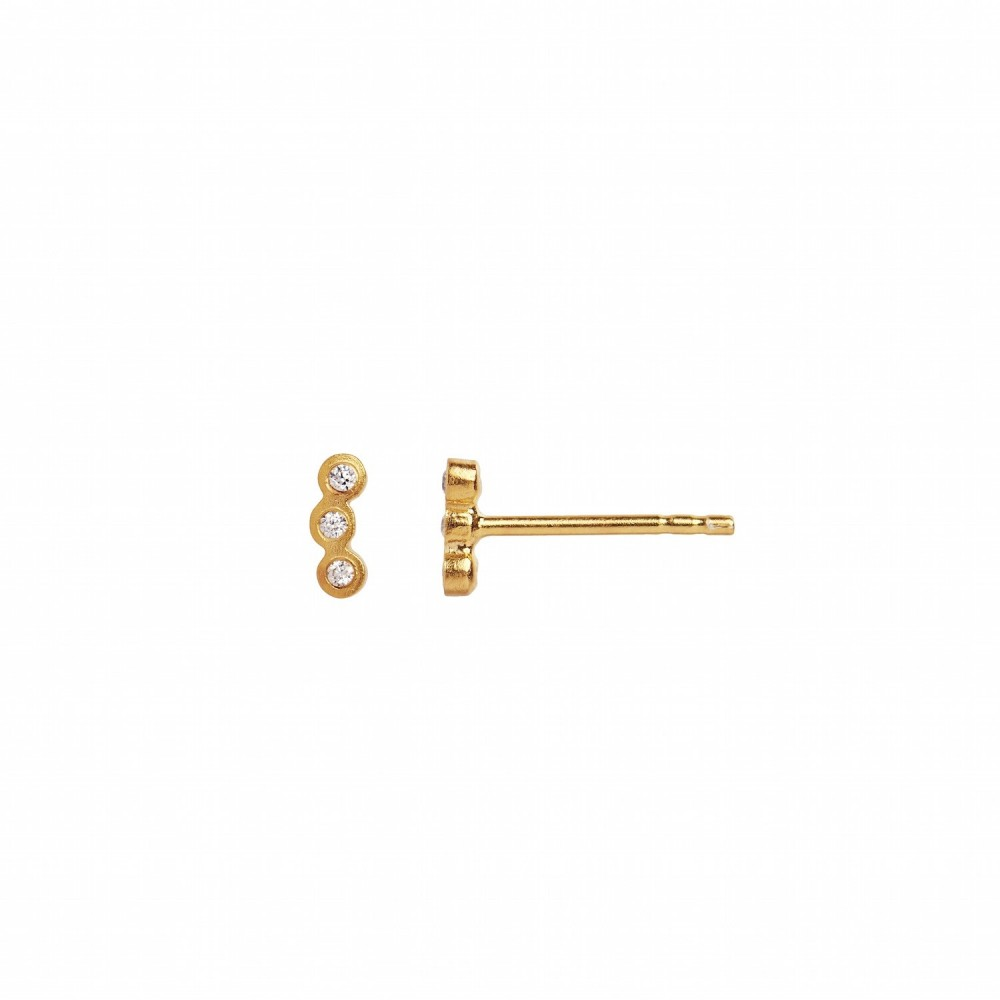 Stine A ørering - Three Dots Piece Earring, Gold