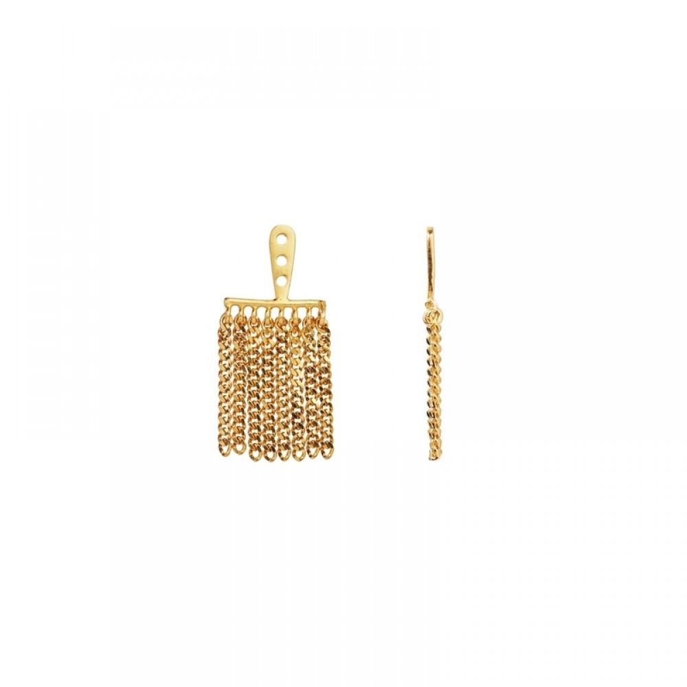 Stine A ørering - Dancing Chains Behind Ear Earring, Gold