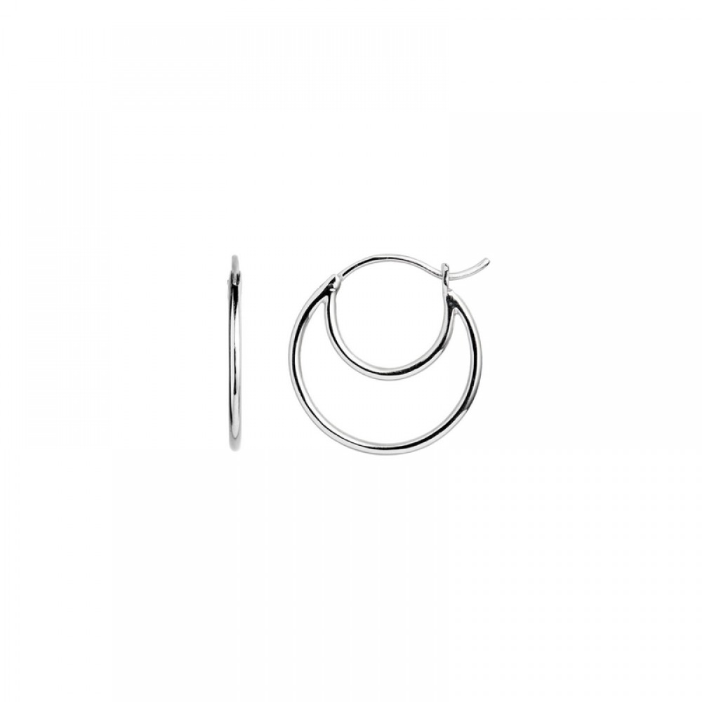 Stine A ørering - Double Creol Earring, Silver
