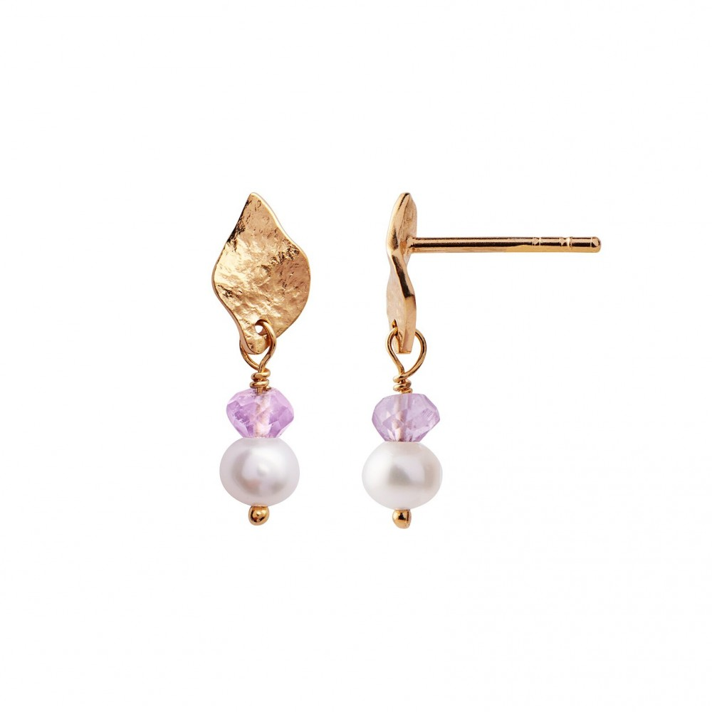 Stine A ørering - Ile De L'Amour With Pearl And Amethyst Earring, Gold