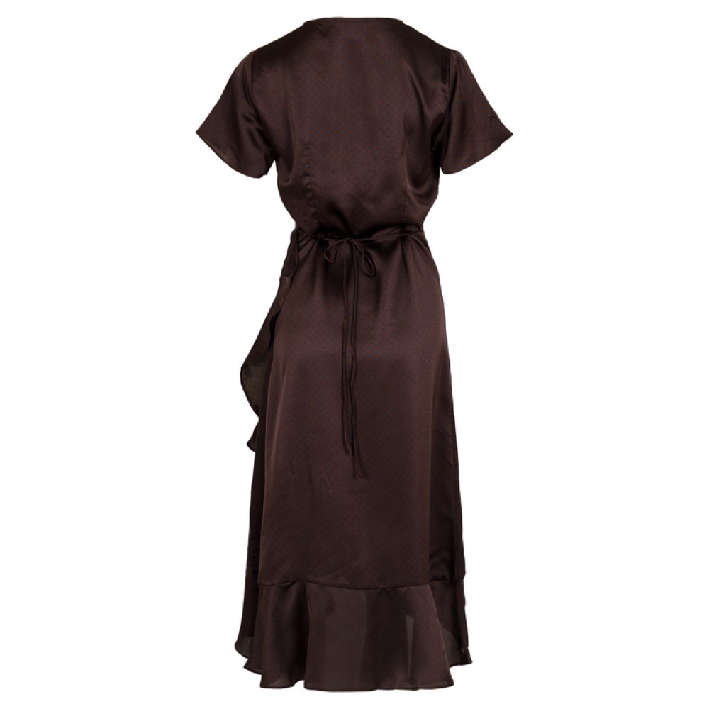 Neo Noir kjole - Magga Vintage Dot Dress, Chocolate Brown