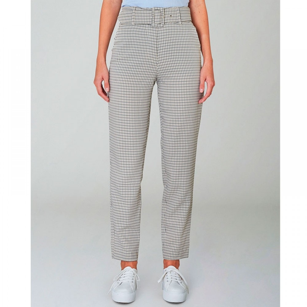 2nd One bukser - Kaia 471 Pants, Belted Spring Check