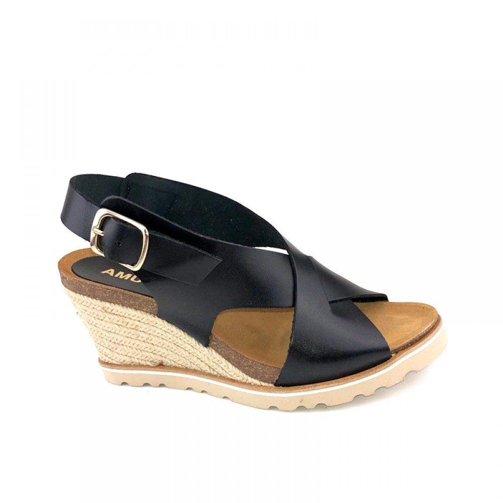AMUST sandal - Lea High Wedge Sandal, Black