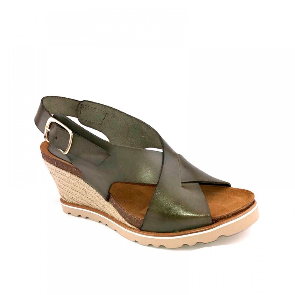 AMUST sandal - Lea High Wedge Sandal, Olive Green