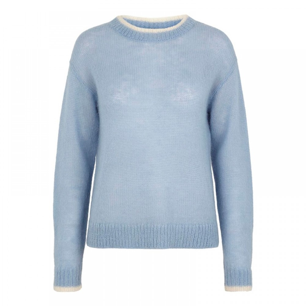 Bruuns Bazaar strikbluse - Cynthia Frida Pullover, Heather Blue