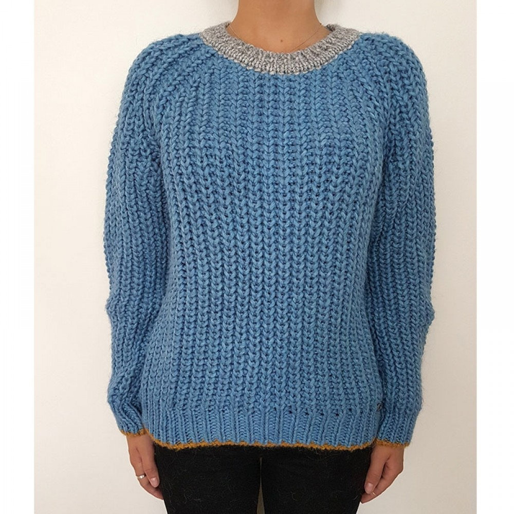 Celebrities Tricot strikbluse - AX206 Pullover, Blue