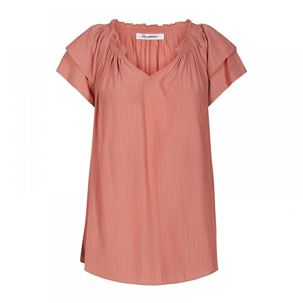 Co'couture bluse - Sunrise Stripe Top, Rose
