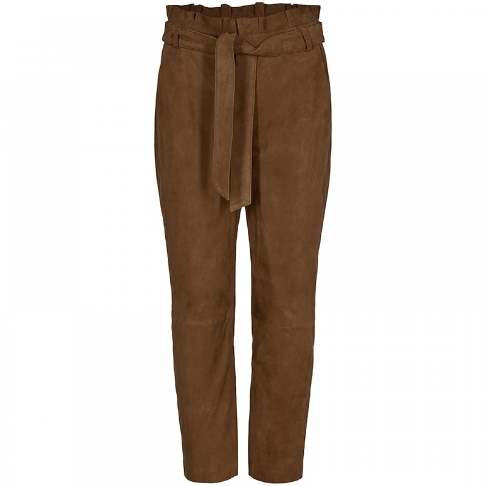 Co'couture skindbukser - Phoebe Suede Pant, Cognac