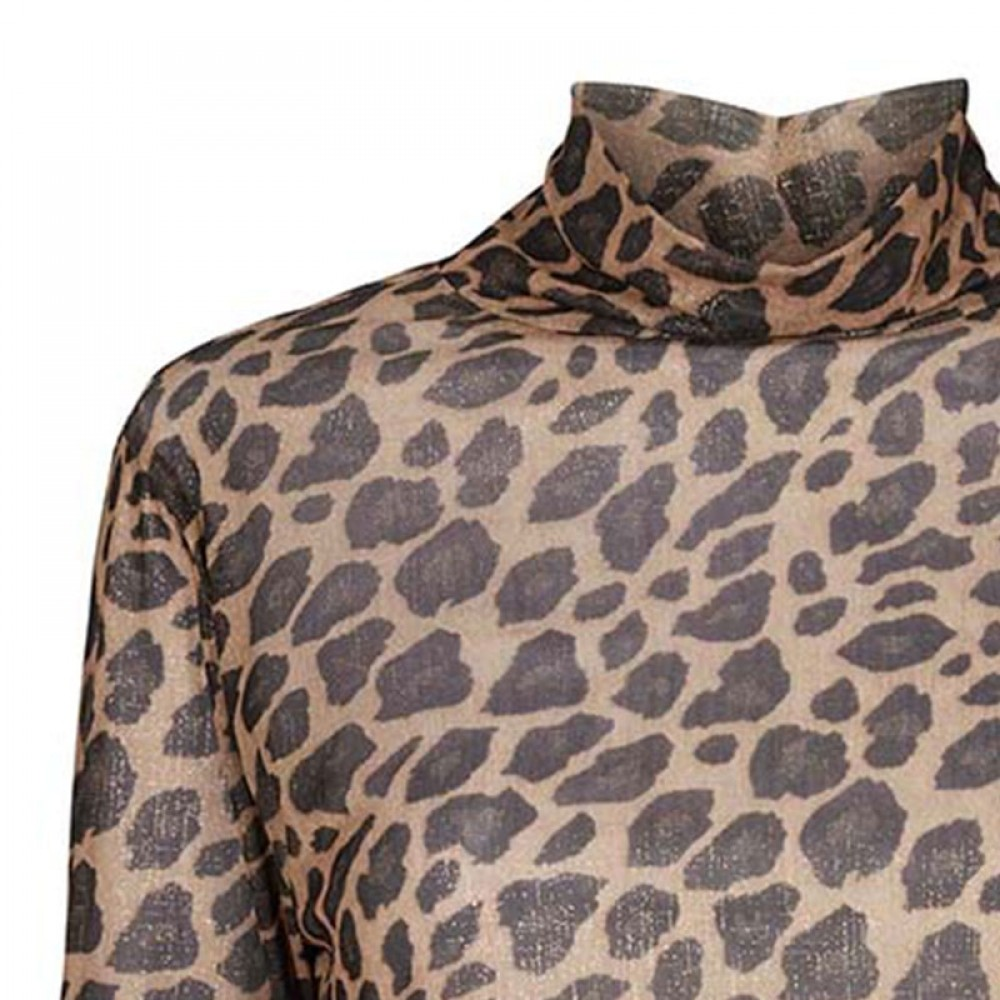 Co'couture bluse - Animal Glitter Mesh, Cognac