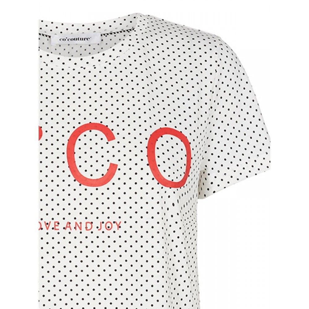 Co'couture bluse - Dot Signature Tee, White