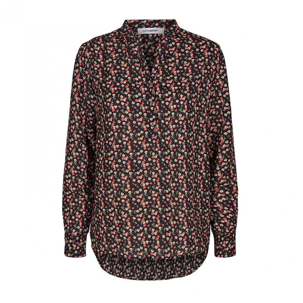 Co'couture bluse - Coco Pernille Flower Shirt, Black