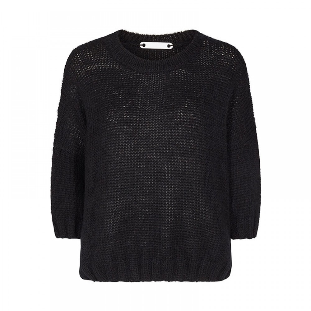 Co'couture strikbluse - Eleen Knit, Black