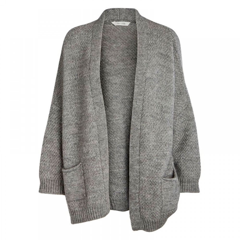 Gai + Lisva strikcardigan - Charlotte, Light Grey Melange