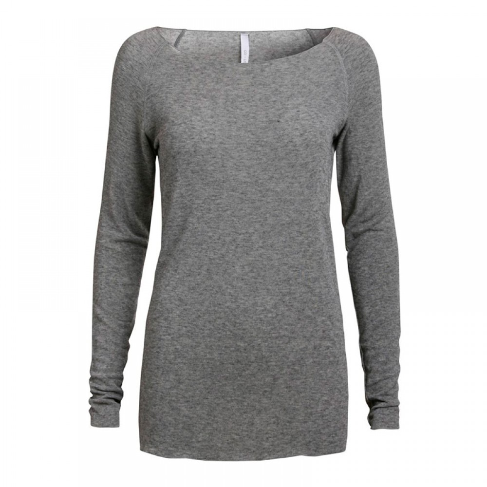 Gai + Lisva bluse - Amalie Solid, Light Grey Melange