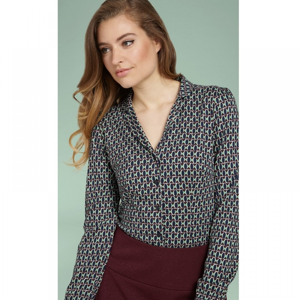King Louie bluse - Patty Blouse Backbeat, Dark Navy