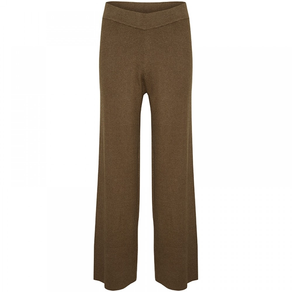 LOUNGE NINE strikbukser - Celestina Knit Pants, Chocolate Chip