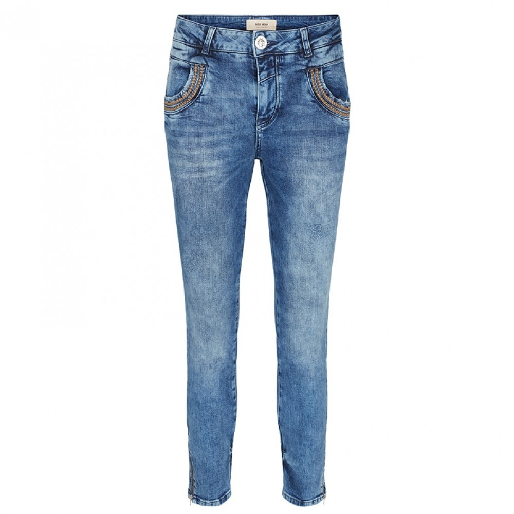 Mos Mosh jeans - Naomi Inca 7/8 Zip Jeans, Light Blue Denim