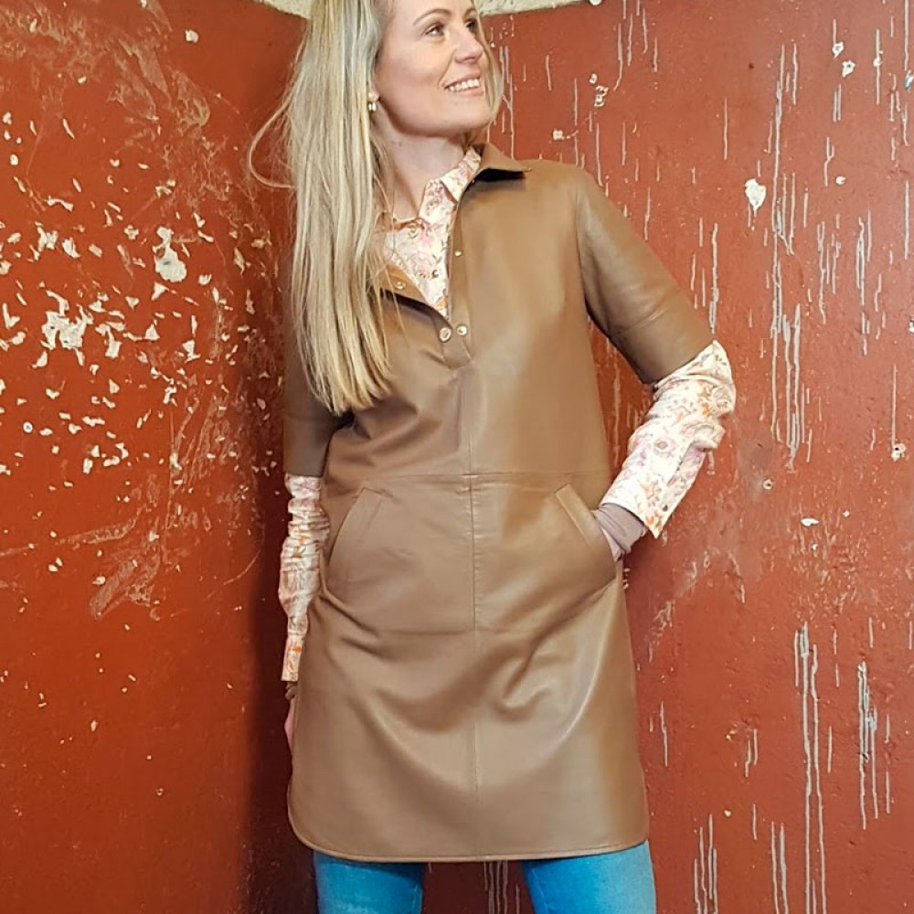 Mos Mosh kjole - Ester Leather Dress, Toasted Coconut