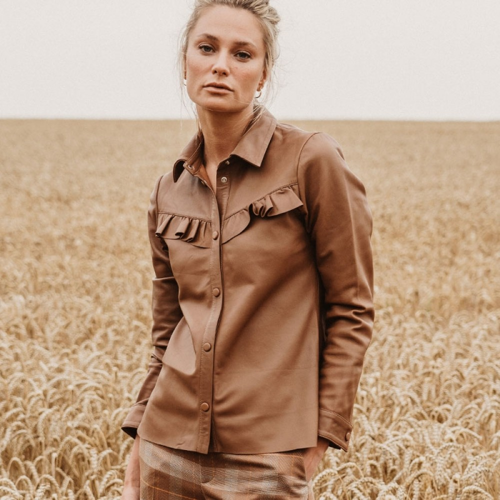 Mos Mosh skind skjorte - Coco Frill Leather Shirt, Toasted Coconut