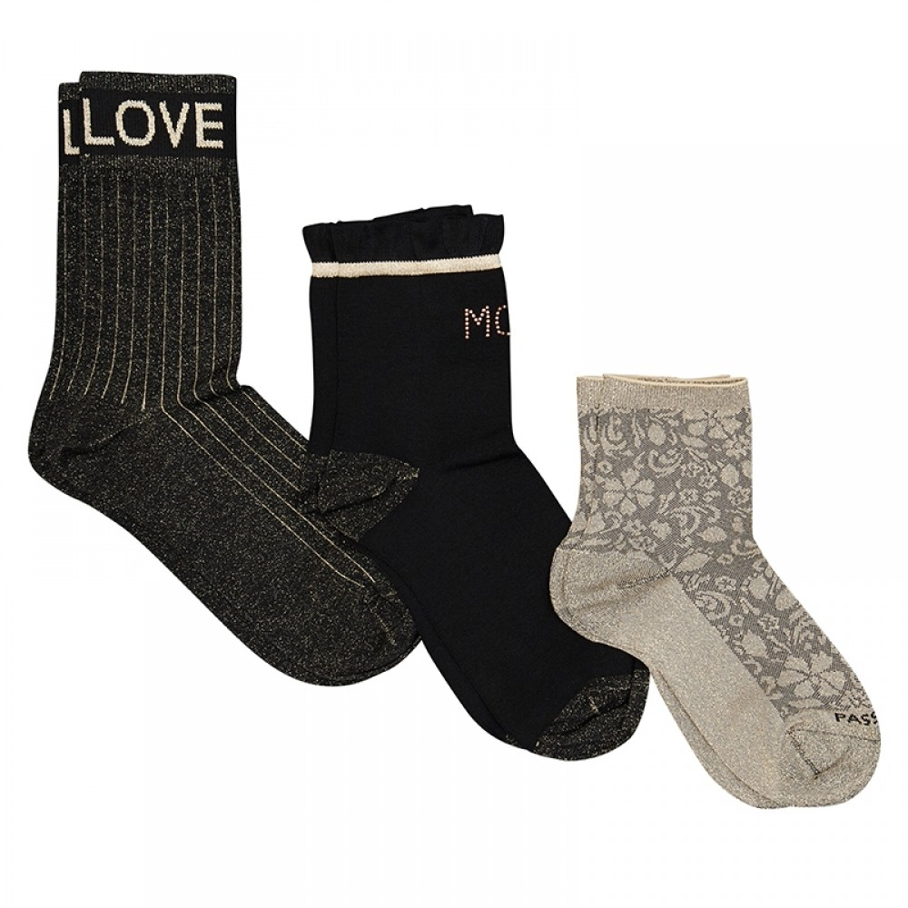 Mos Mosh strømper - Lurex Socks, Black Gold