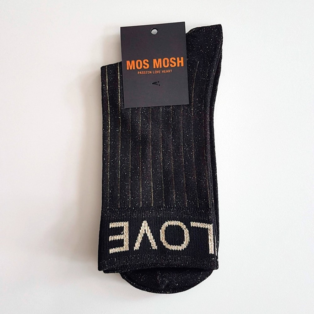 Mos Mosh strømper - Lurex Socks, Black Stripe