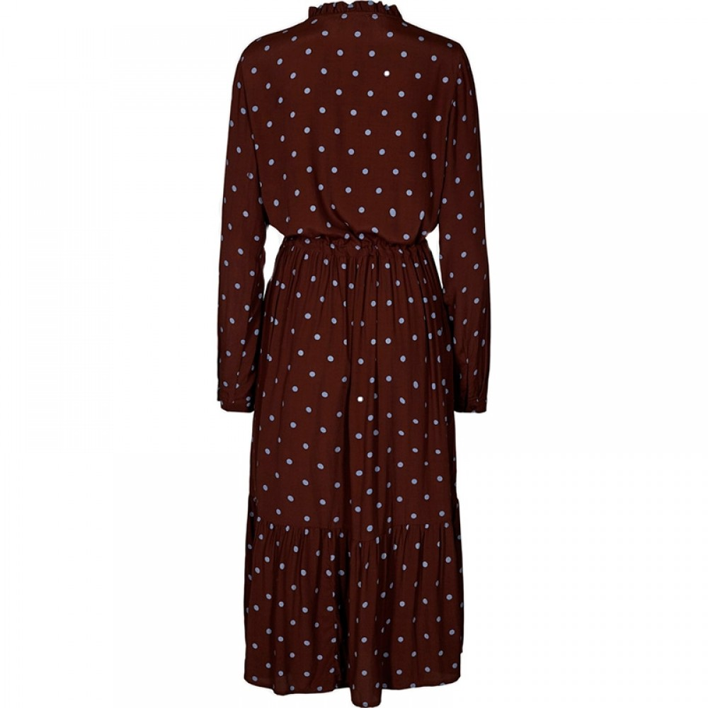 MOSS COPENHAGEN kjole - Rylie Morocco LS Dress AOP, Coffee Dot