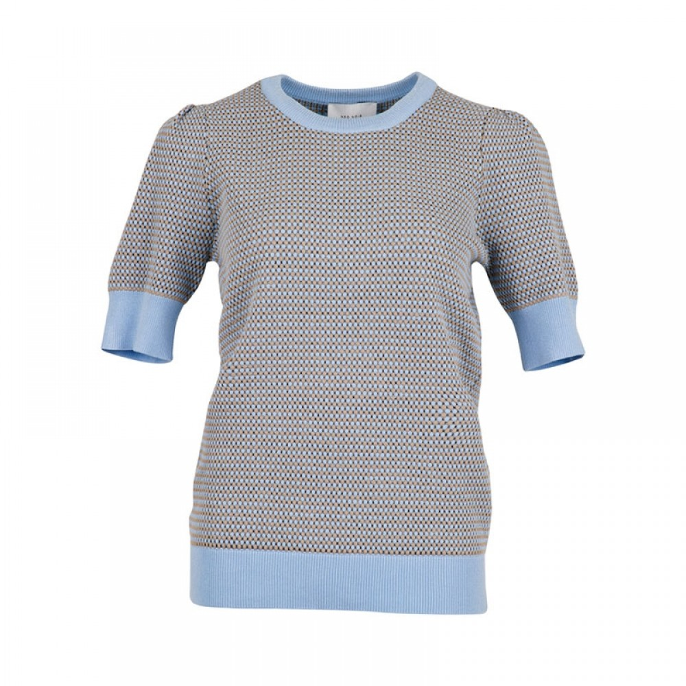 Neo Noir bluse - Madison Knit Tee, Light Blue