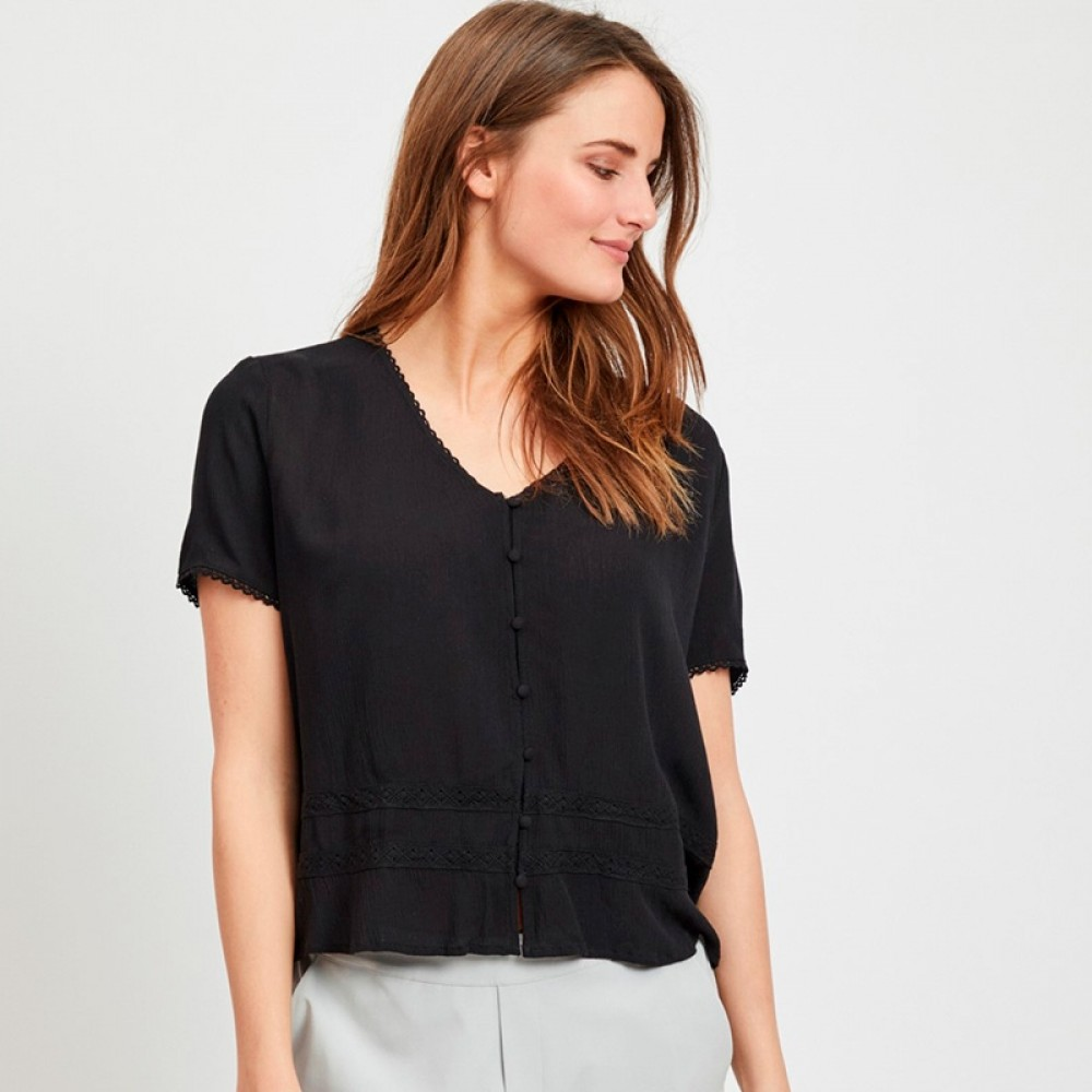 Object bluse - Janette SS Top, Black