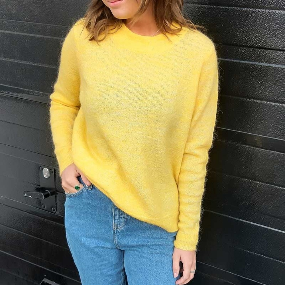 Object strikbluse - Nete LS Knit Pullover, Yellow