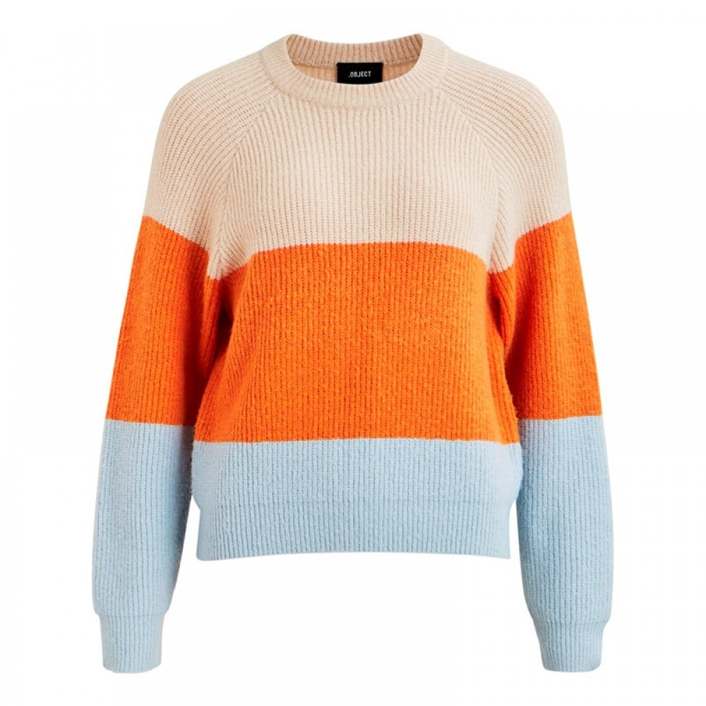 Object strikbluse - Massy LS Knit, Colour Block