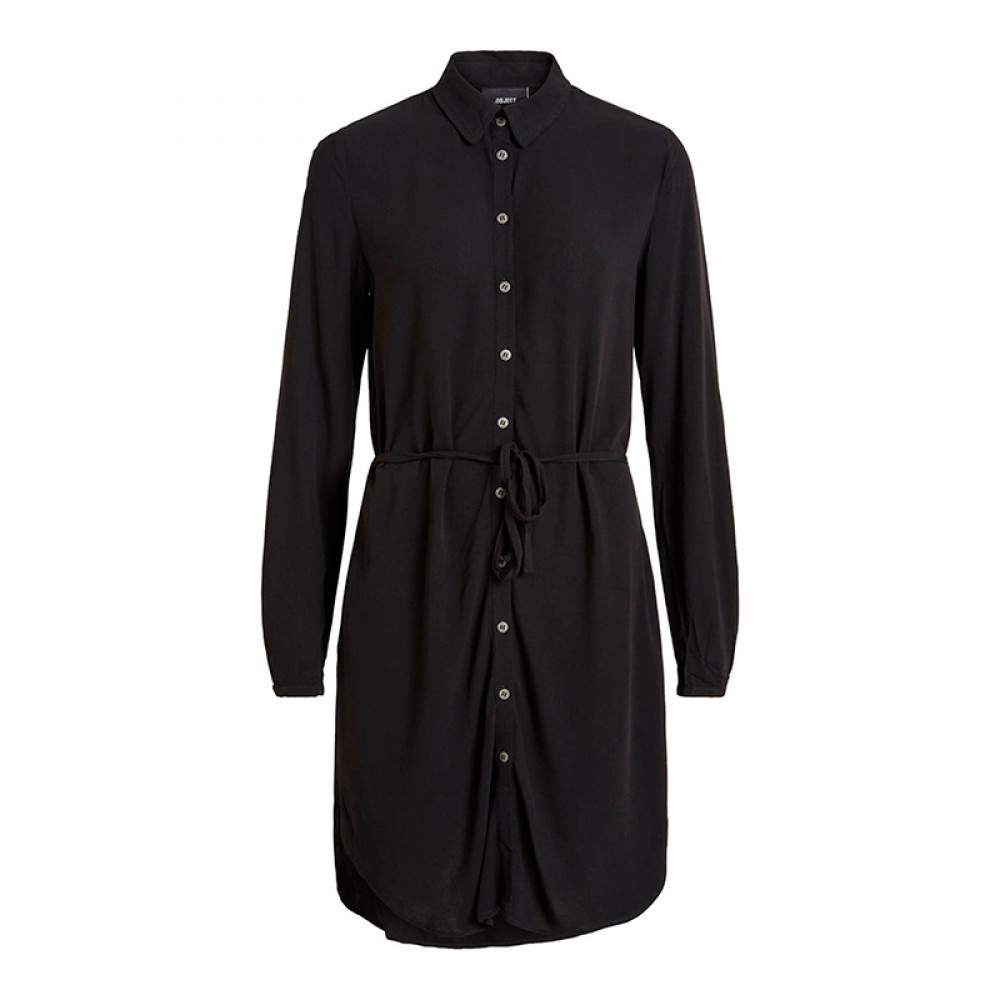 Object skjortekjole - Bay L/S Shirt Dress, Black