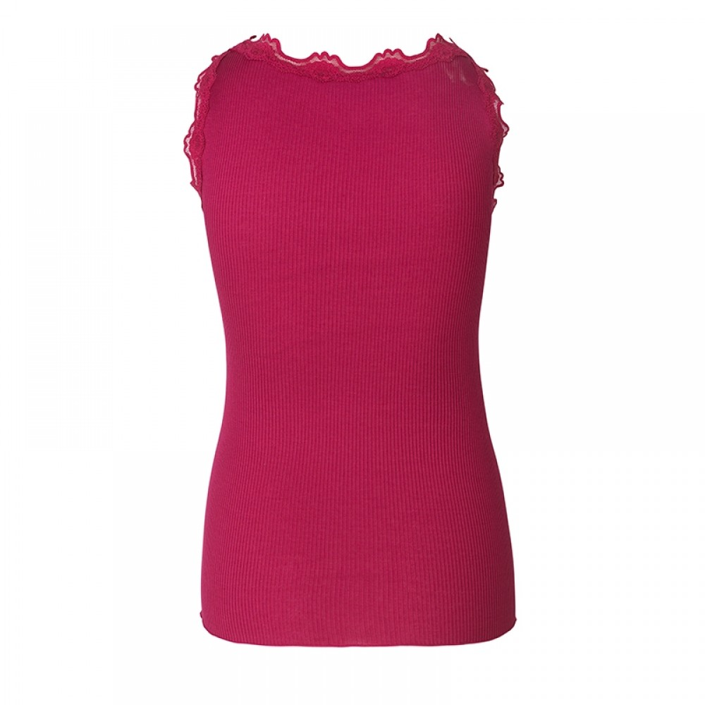Rosemunde - Silk top regular w/vintage lace, Rasberry Red