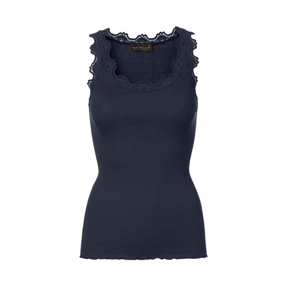 Rosemunde - Silk top regular w/vintage lace, Navy
