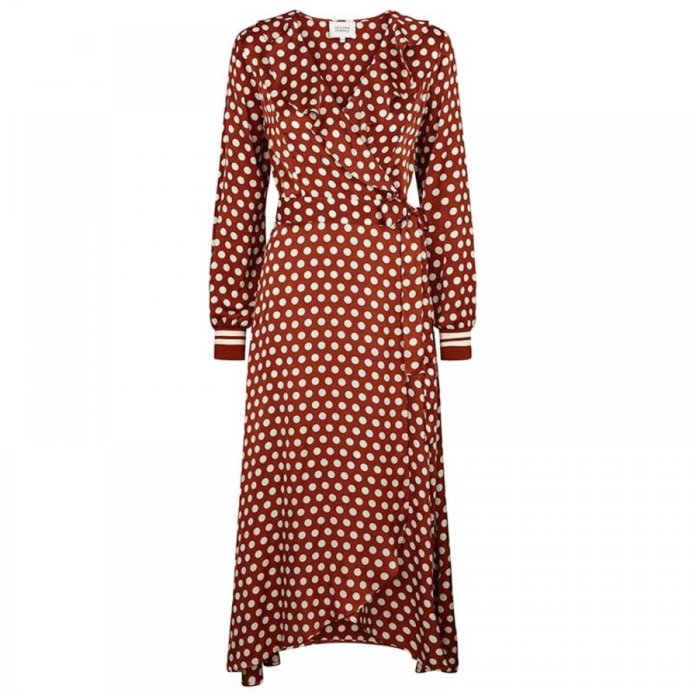 Second Female kjole - Spotty Wrap Dress, Rustic Brown