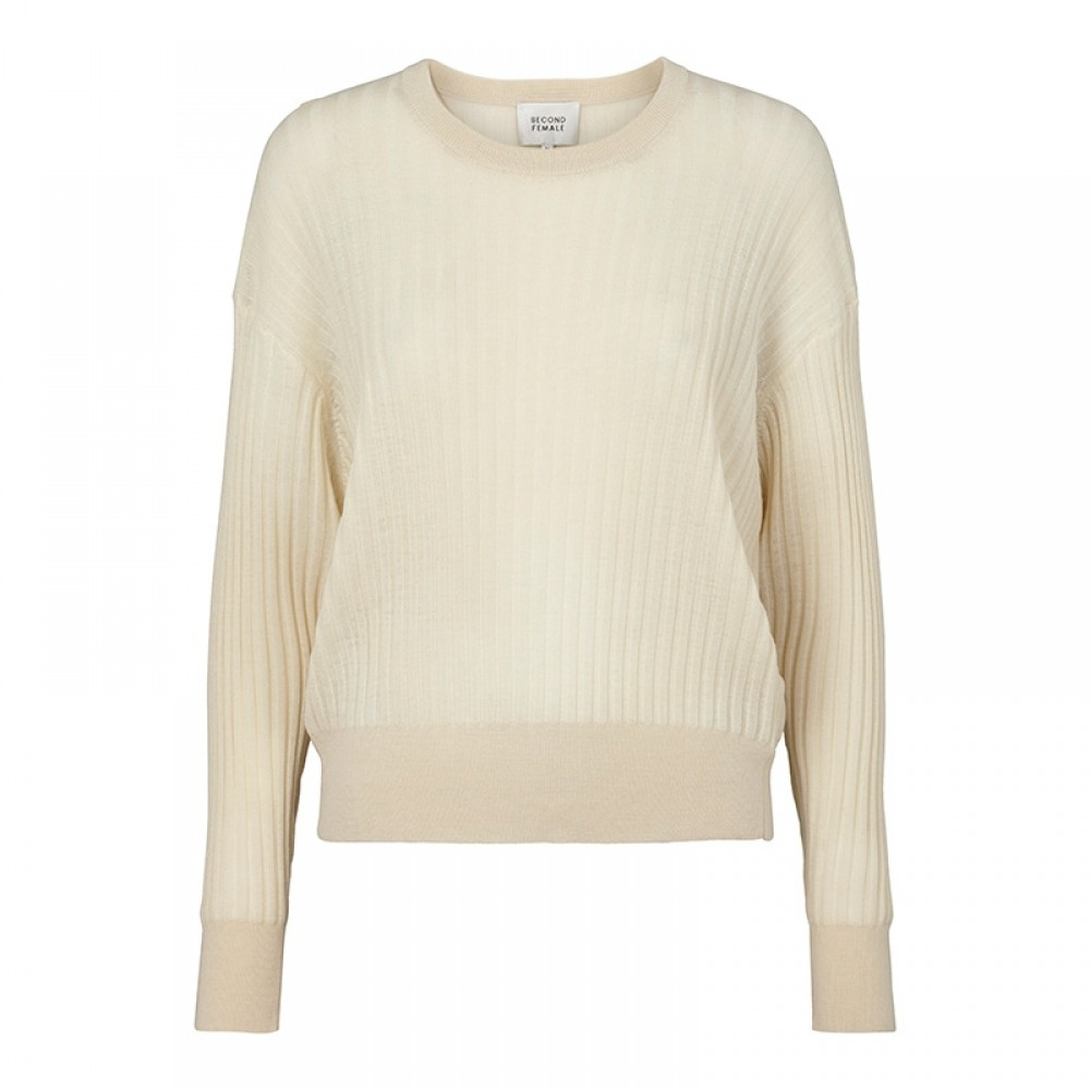 Second Female strik - Irene Knit O-Neck, Brazilian Sand