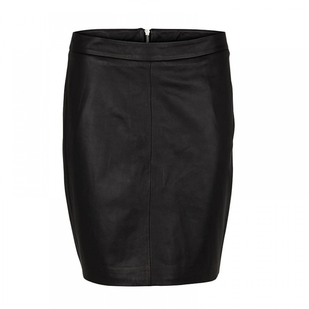 Second Female skindnederdel - Berry Leather Skirt, Black