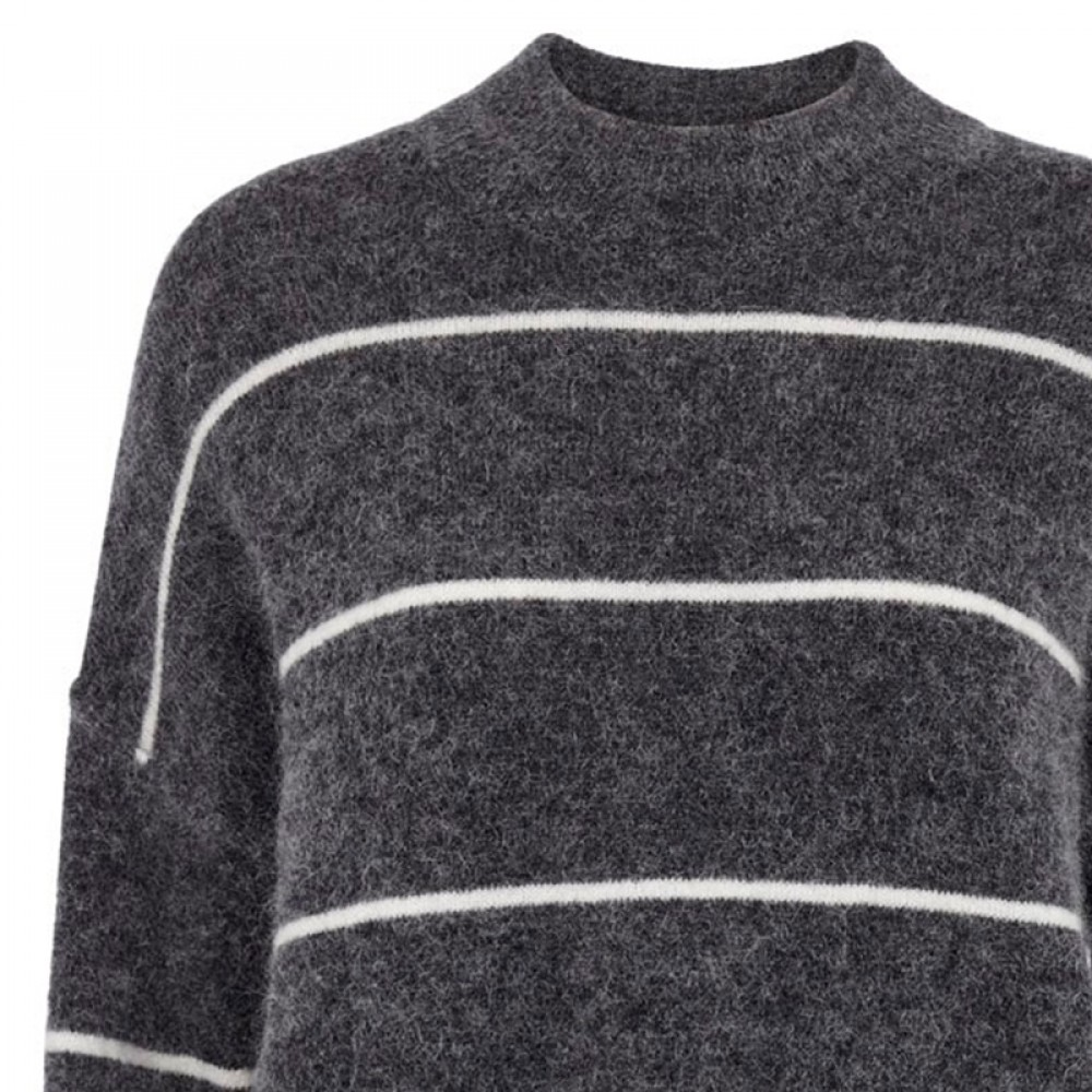 Second Female bluse - Brook Knit Loose Striped O-Neck, Dark Grey