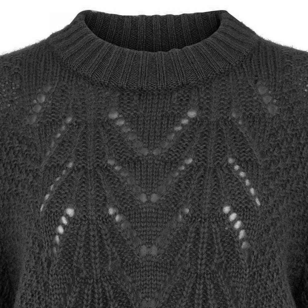 Second Female strik - Tali Knit O-neck, Dark grey melange
