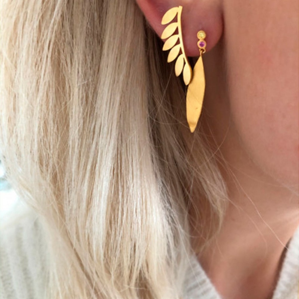 Stine A ørering - Six Leaves Right Earring, Gold