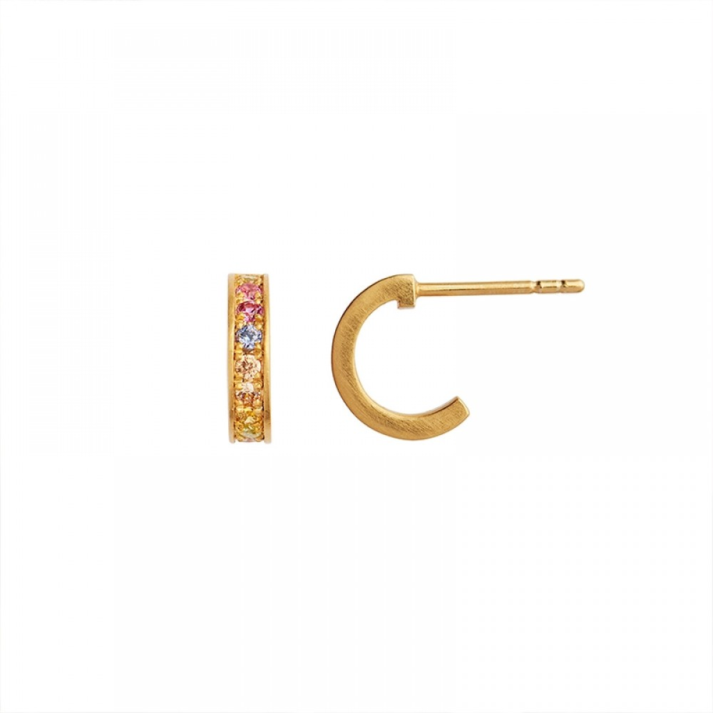 Stine A ørering - Petit Candy Creol with Soft Pastel Stones Earring, Gold