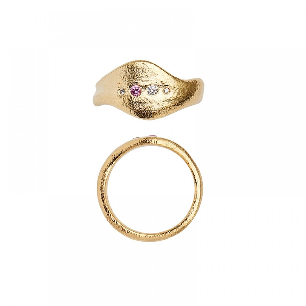 Stine A ring - Ile De L'Amour Ring With Stones, Gold