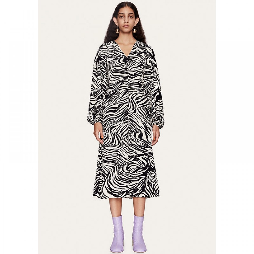 Stine Goya kjole - Rosen Structure Stretch, Zebra Black