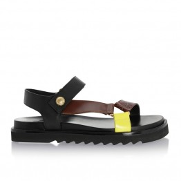 Billi Bi sandal - 4192 Comb, Cognac Brown Black