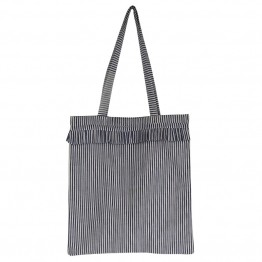 Black Colour net - SIV Striped Frill Shopper, Blue