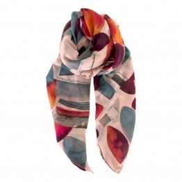Black Colour tørklæde - CAJSA Geometric Scarf, Rose