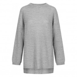 Gai + Lisva strikbluse - Martina Pullover, Light Grey Melange