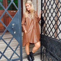 MDK skindkjole - Chili Thin Leather Dress, Monks Robe