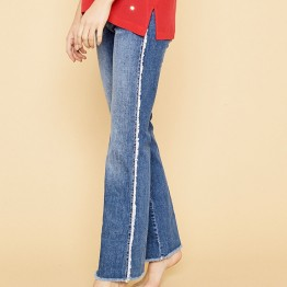 Mos Mosh jeans - Percy Frill Flare Jeans, Blue Denim