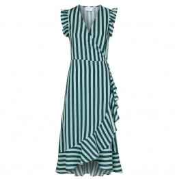 Neo Noir kjole - Manda Broad Stripe Dress, Green
